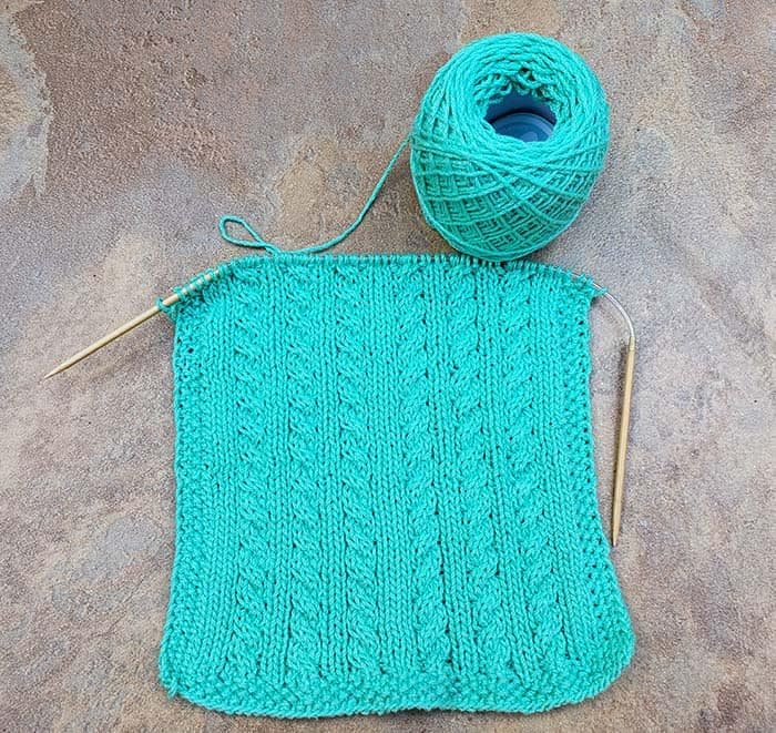 Knitted Dishcloth in Aqua Cotton Yarn with cables