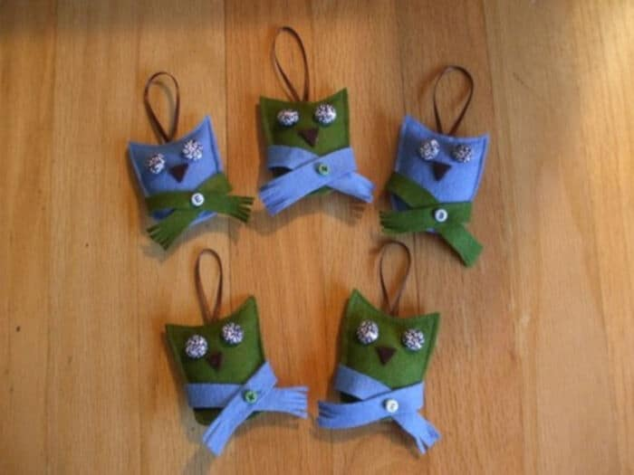 Tiny-Eyed Owl Ornaments by Button It Up