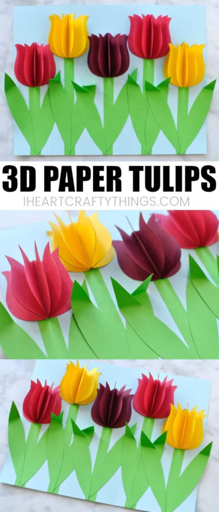 3D Paper Tulips by I Heart Crafty Things