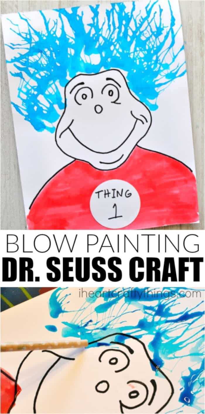 Blow Painting Dr. Seuss Craft by I Heart Crafty Things