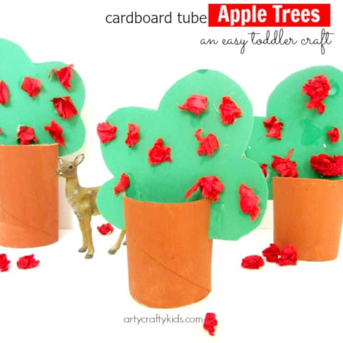 Cardboard Tube Apple Trees by Arty Crafty Kids