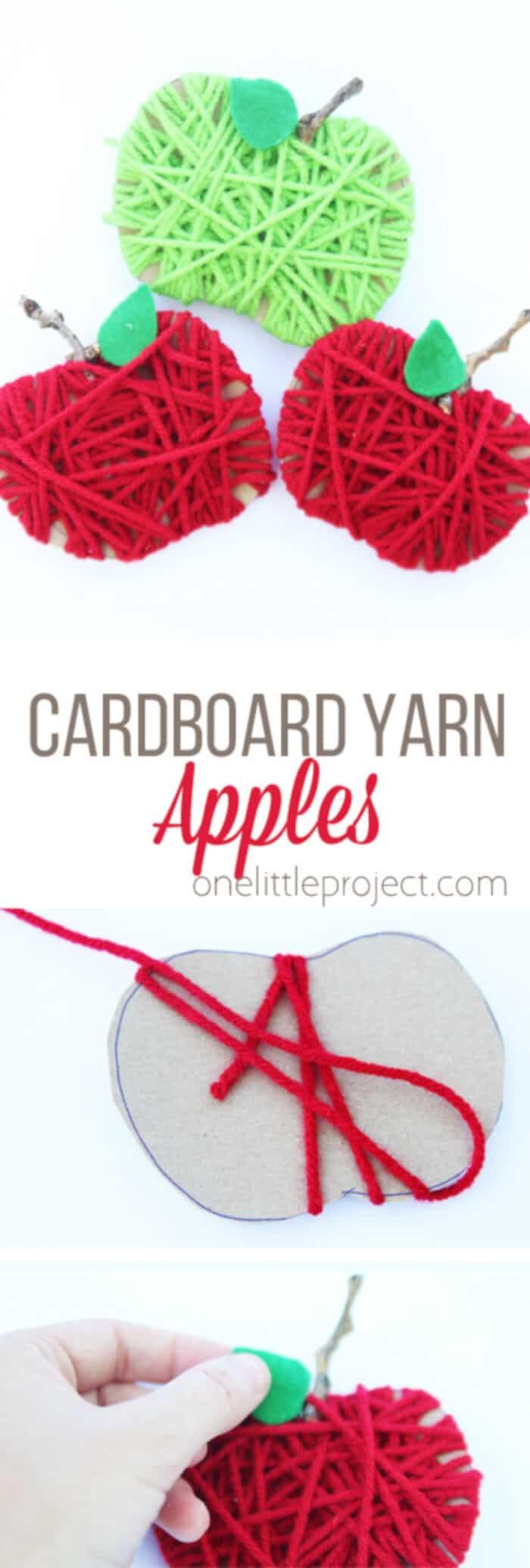 Cardboard Yarn Apples by One Little Project