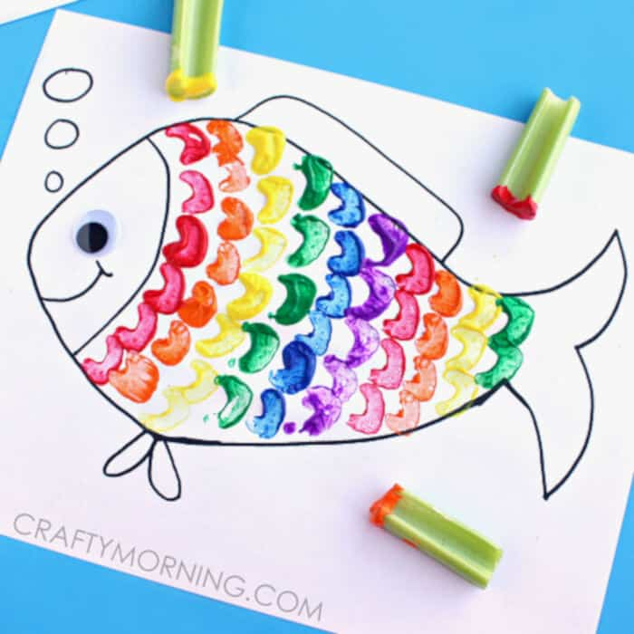 Celery Stamping Rainbow Fish Craft for Kids by Crafty Morning