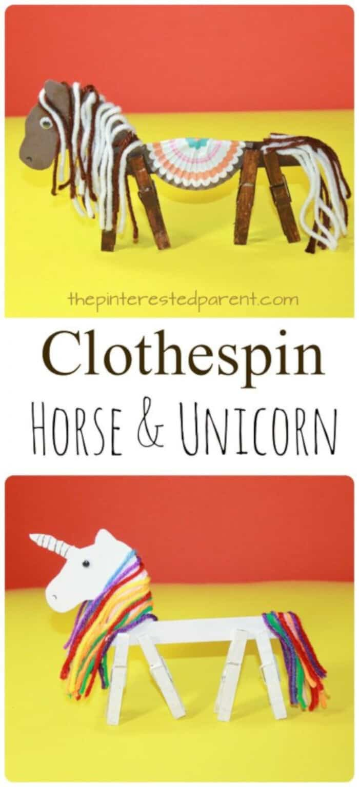 Clothespin Horse Unicorn by The Pinterested Parent