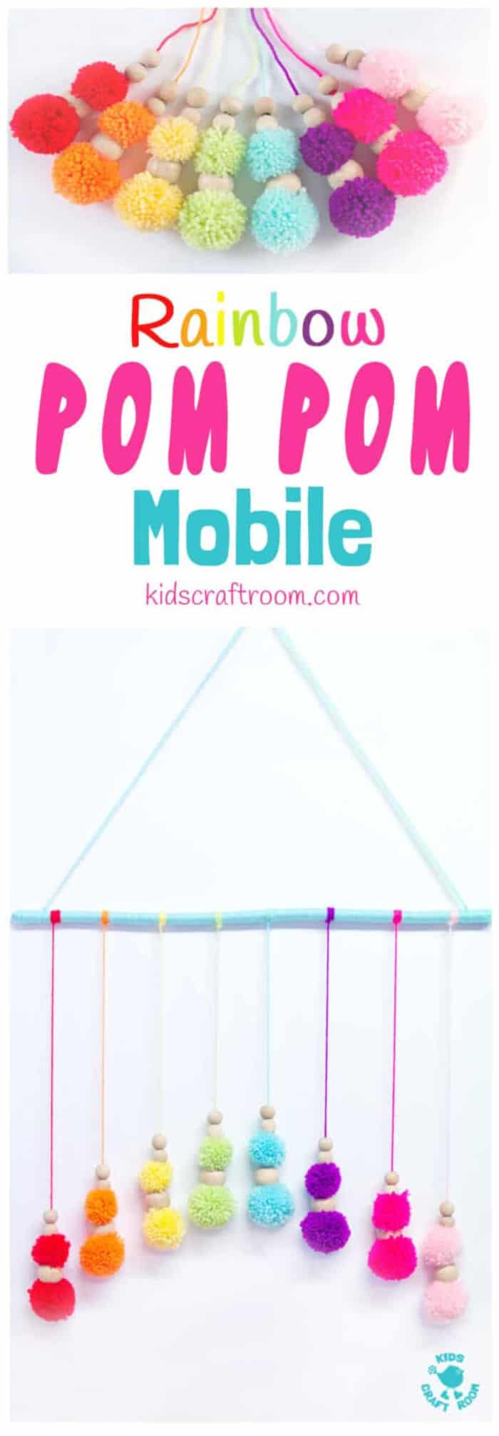 Colourful Rainbow Pom Pom Mobile by Kids Craft Room