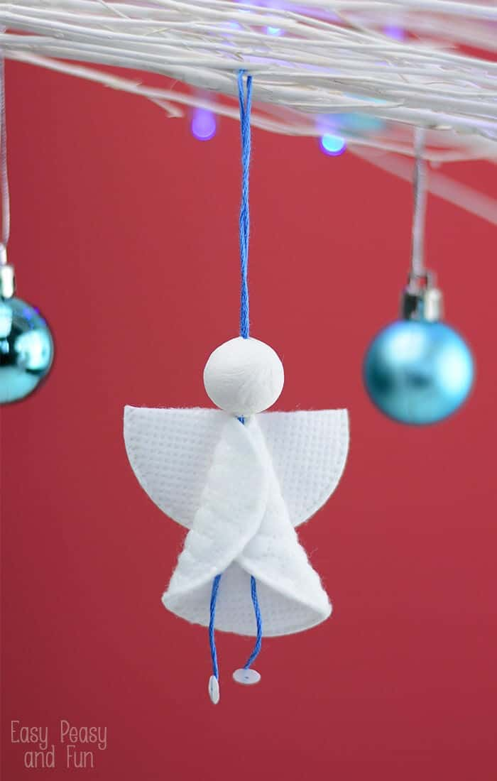 Cotton Rounds Angels Ornaments by Easy Peasy and Fun