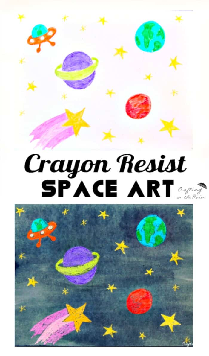 Crayon Resist Space Art by Crafting Chicks