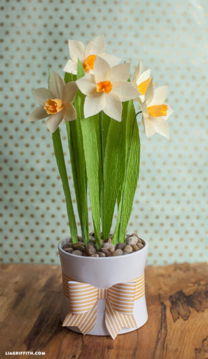 Crepe Paper Daffodils by Lia Griffith