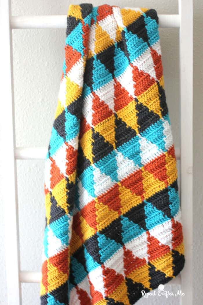 Crochet Triangle Blanket by Repeat Crafter Me