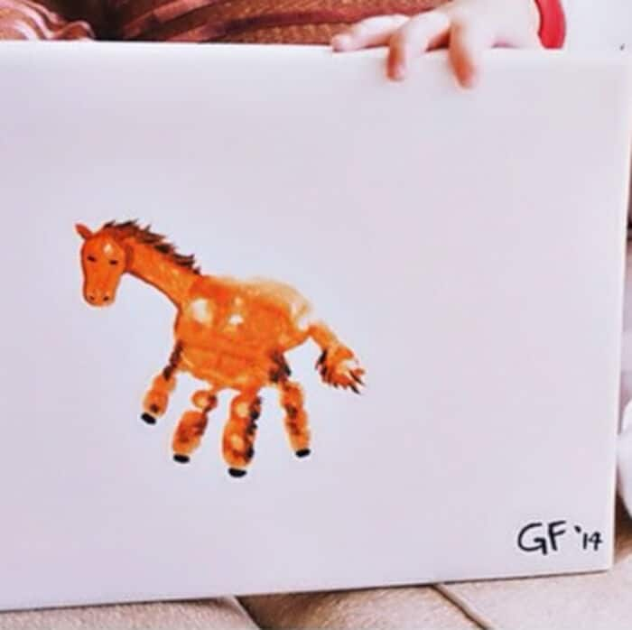Cute Handprint Horse Craft for Kids by Crafty Morning