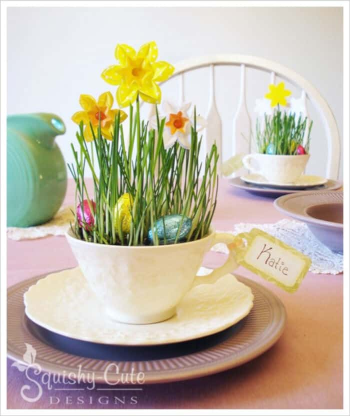 Cute Teacup Daffodils by Squishy-Cute Designs