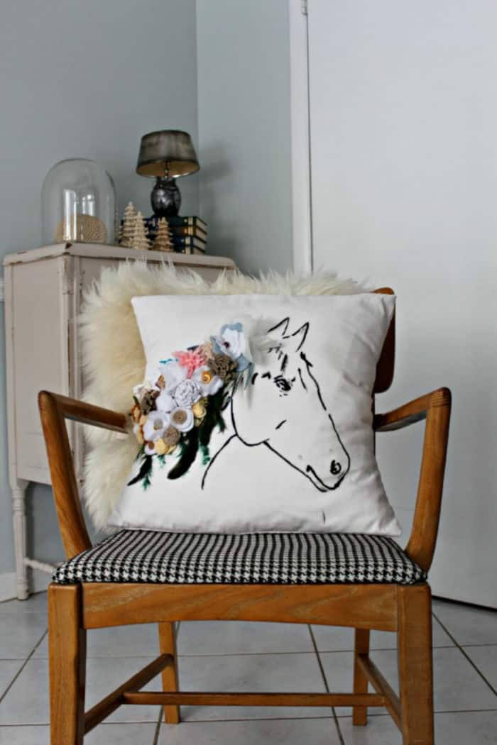 DIY Anthro Inspired Horse Print Pillow With Flowers & Feathers by Sylvie Liv