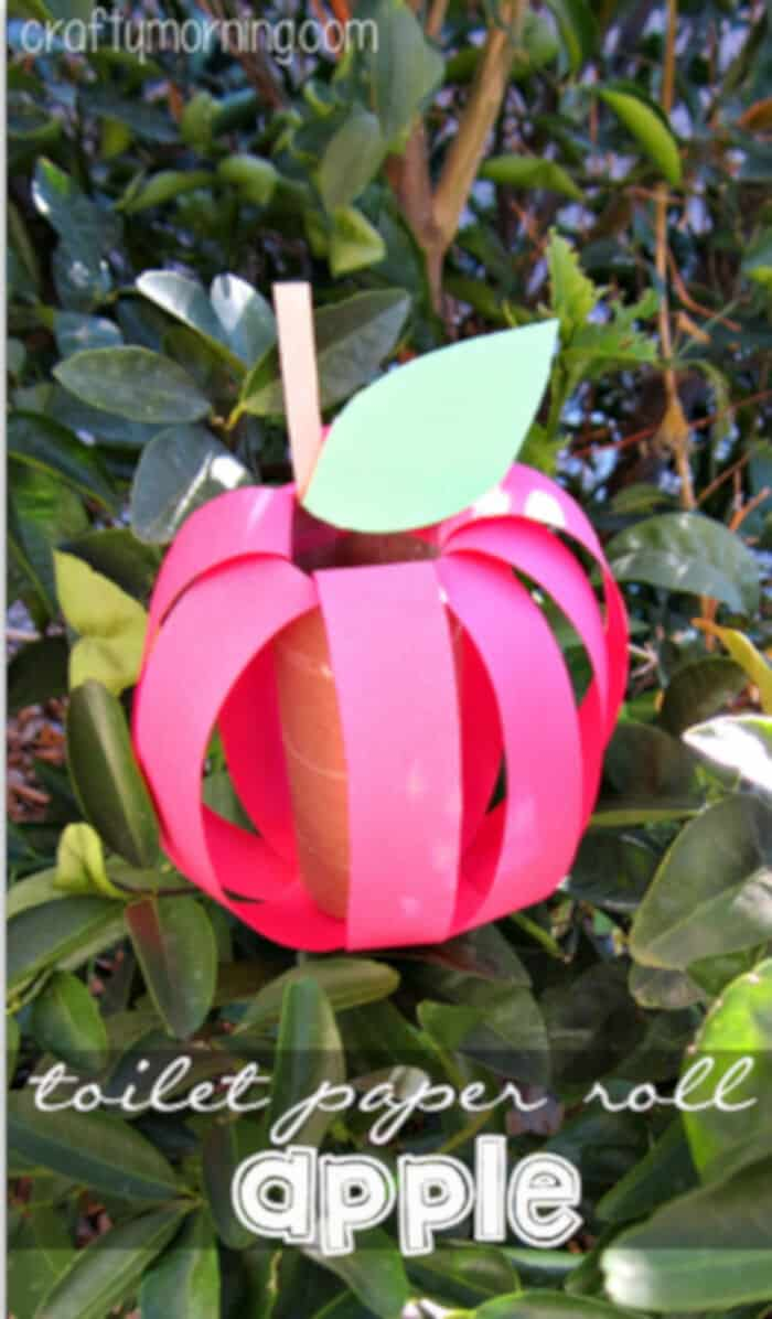 DIY Apple Toilet Paper Roll Craft for Kids by Crafty Morning