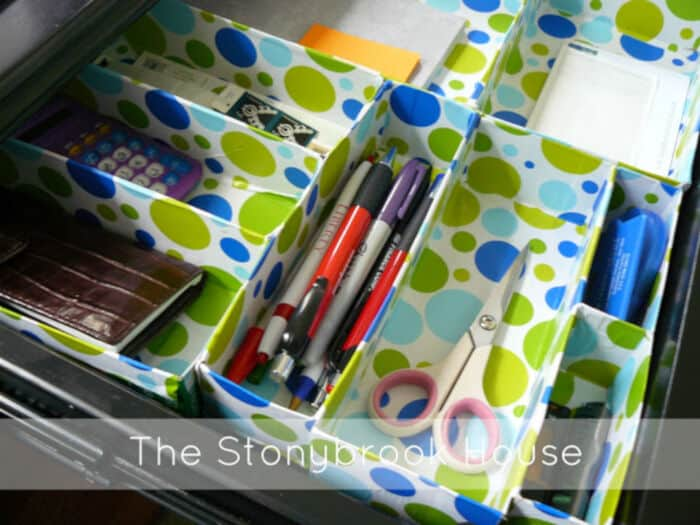 DIY Cereal Box Drawer Organizer by The Stonybrook House