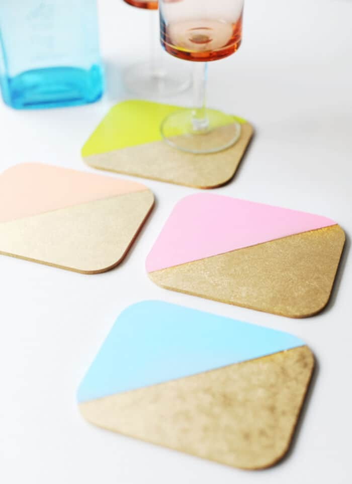 DIY Colour Blocked Coasters by Poppytalk