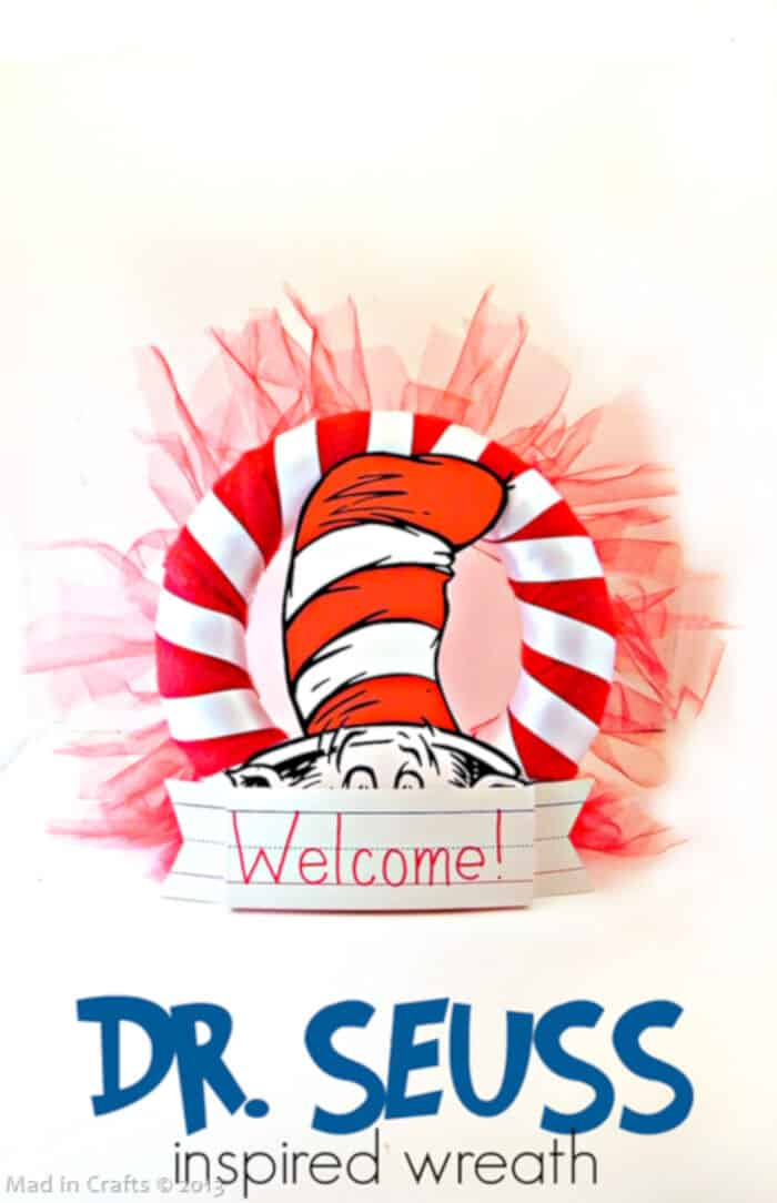 DIY Dr. Seuss Party Wreath by Mad in Crafts