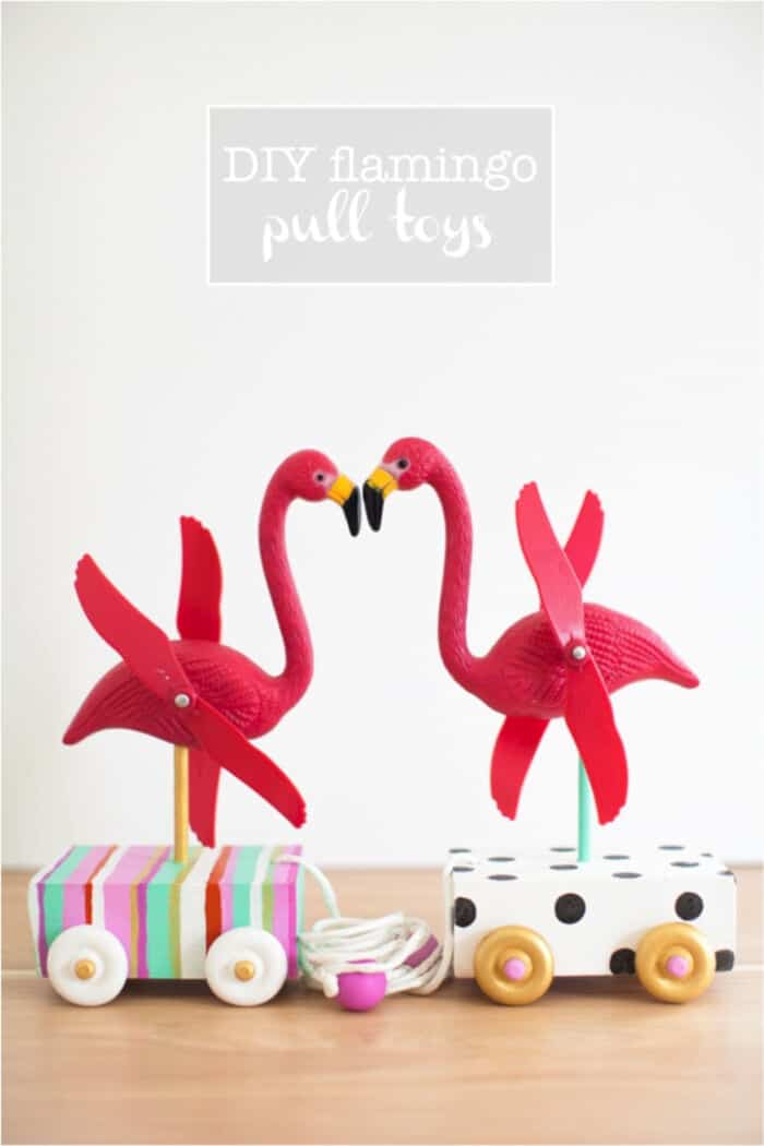 DIY Flamingo Pull Toy by This Little Street