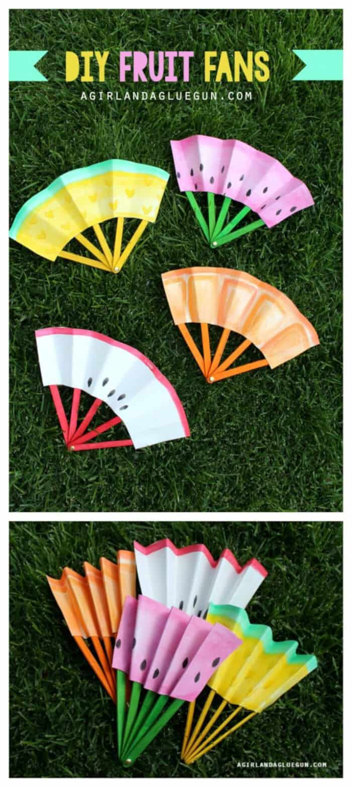 DIY Fruit Fans by A Girl And A Glue Gun