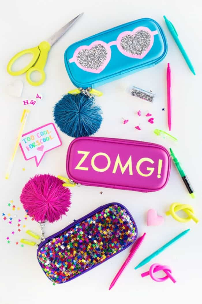 DIY Glittery Graphic Pencil Cases by Studio DIY