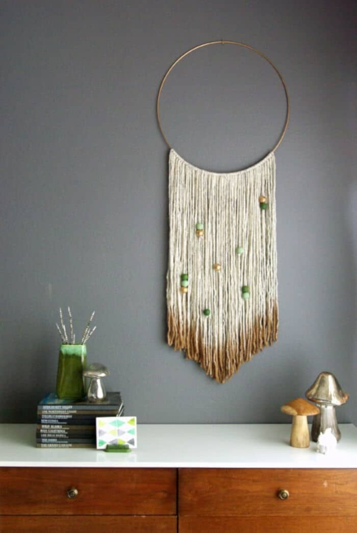DIY Gold Dipped Yarn Hanging by Oleander + Palm