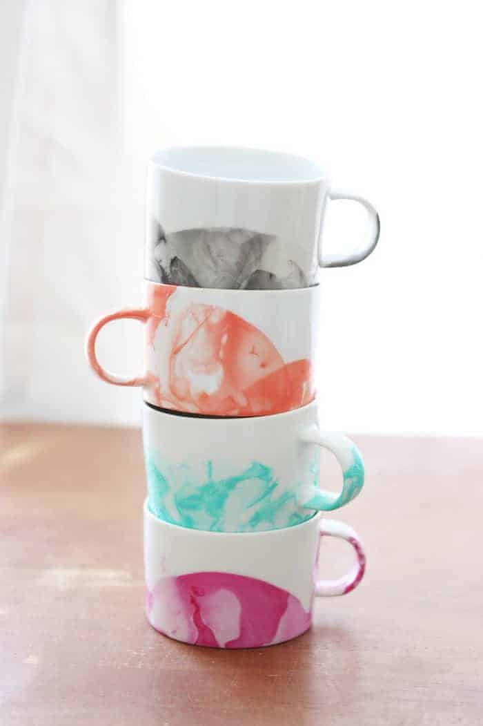 DIY Marbled Mugs with Nail Polish by DIY Candy