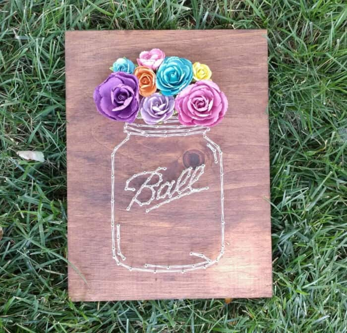 DIY Mason Jar String Art by Chaotically Yours