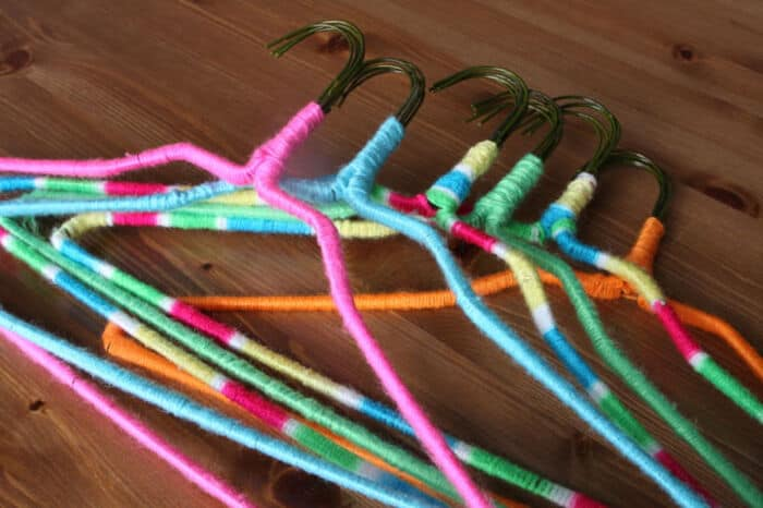 DIY Neon Nonslip Hangers by Brit + Co