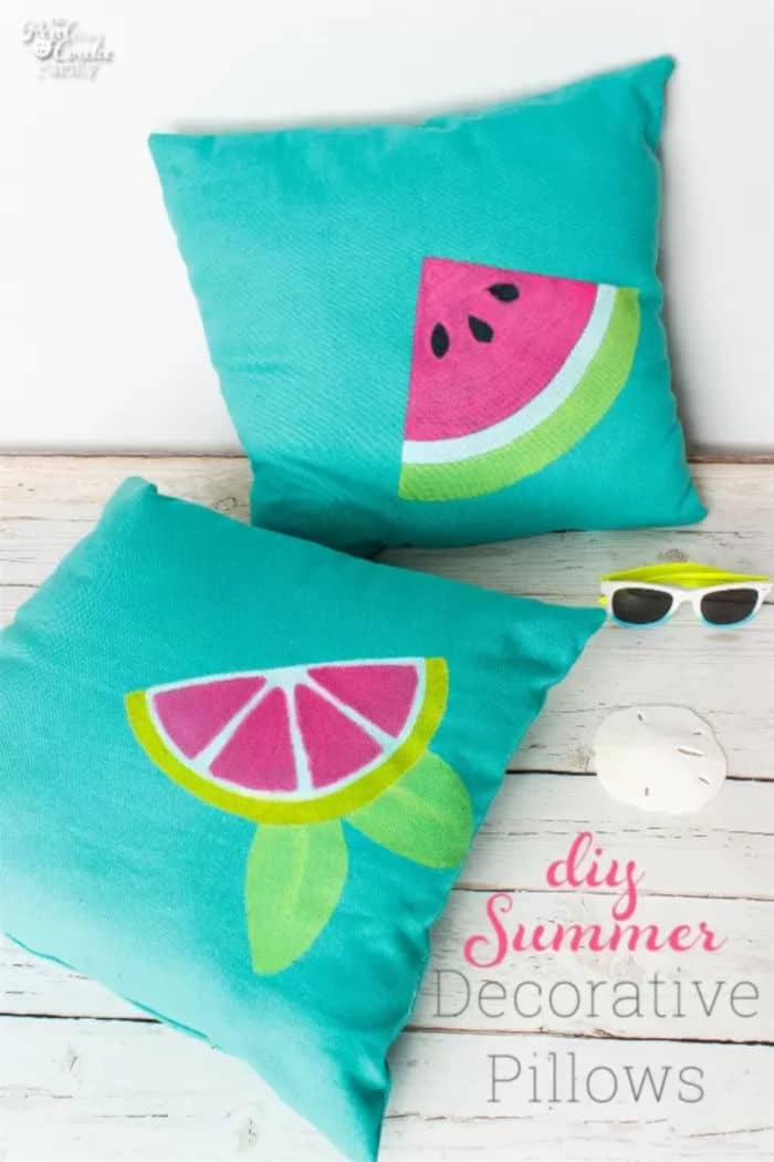 DIY Summer Decorative Pillows by The Real thing with the Coake Family