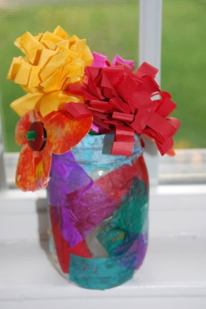 DIY Tissue Paper Flower Bouquet and Vase by Homegrown Friends