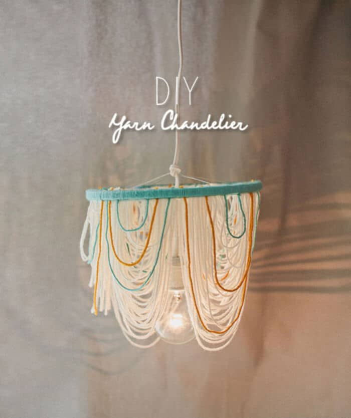 DIY Yarn Chandelier by Wedding Chicks