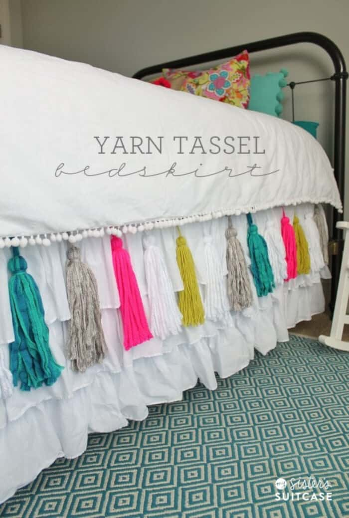DIY Yarn Tassel Bedskirt by Tatertots and Jello