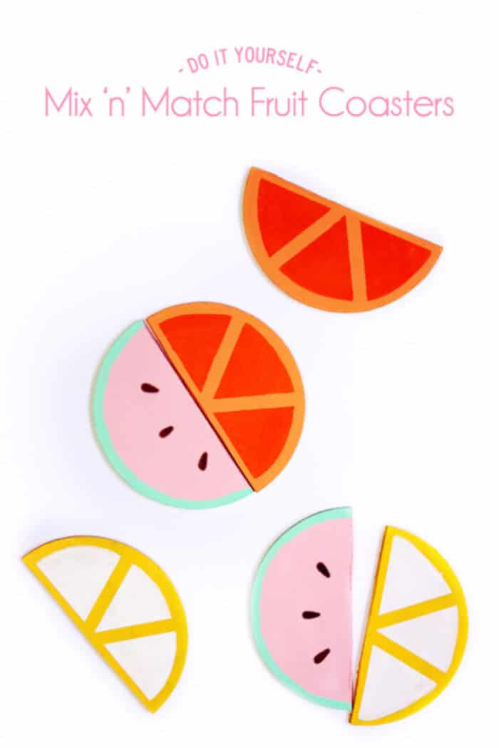 DIY mix n match fruit coasters! by Paper and Pin
