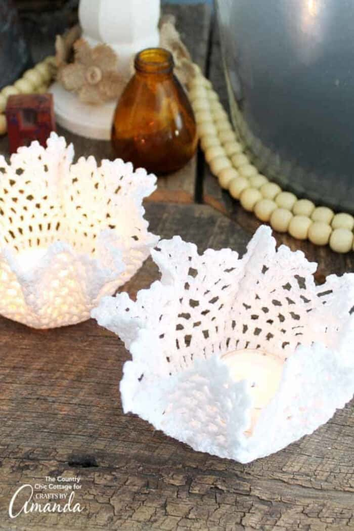 Doily Tea Light Holders by Crafts by Amanda