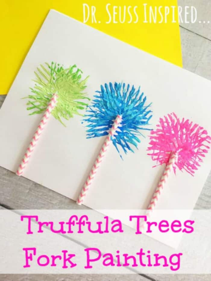 Dr Seuss Inspired Truffula Trees Fork Painting by Masshole Mommy