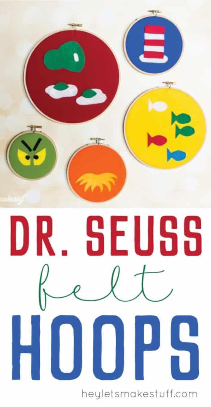 Dr. Seuss Decorative Felt Hoops by Hey Lets Make Stuff