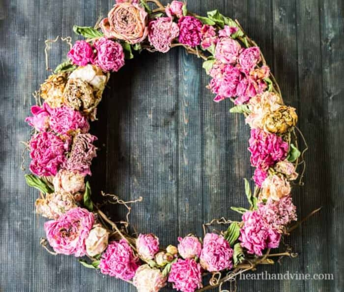 Dried Peony Wreath by Hearth and Vine