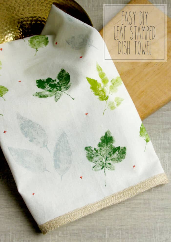 Easy DIY Leaf Stamped Dish Towel by Flamingo Toes