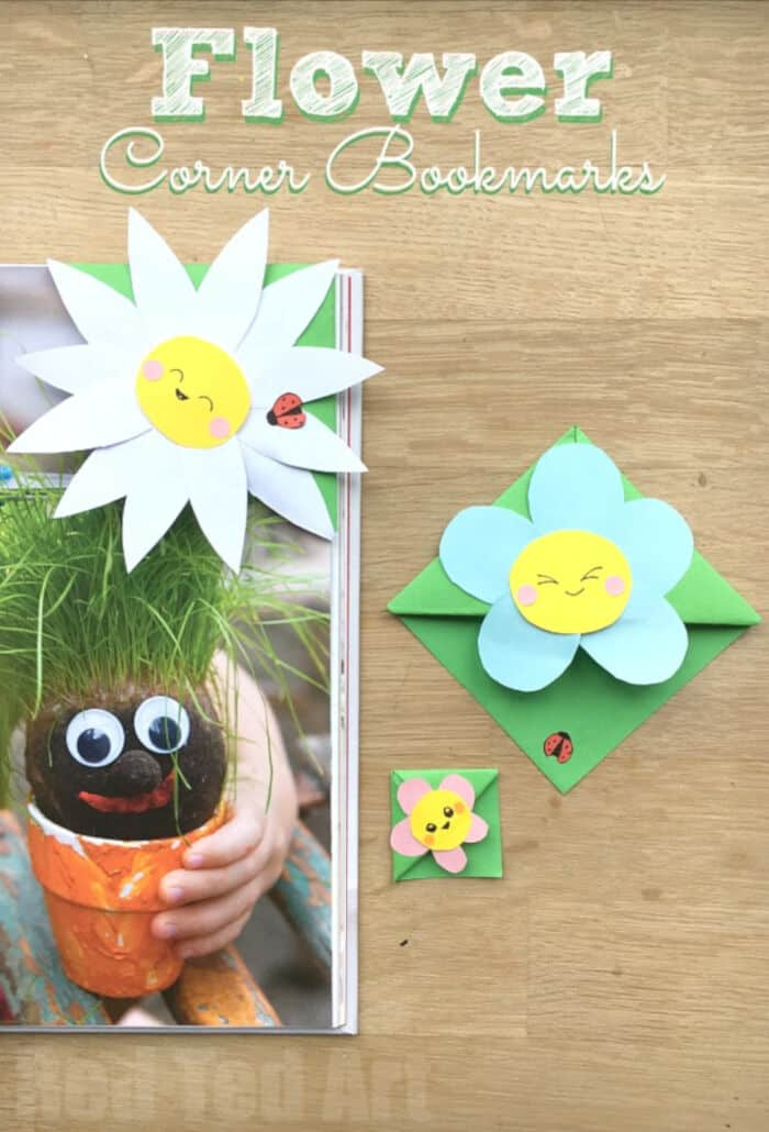 Easy Flower Bookmark Corner by Red Ted Art