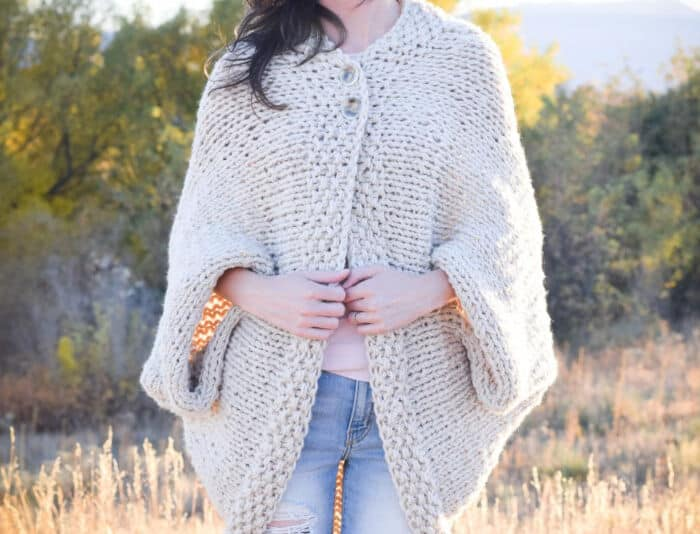 Easy Knit Blanket Sweater by Mama In A Stitch