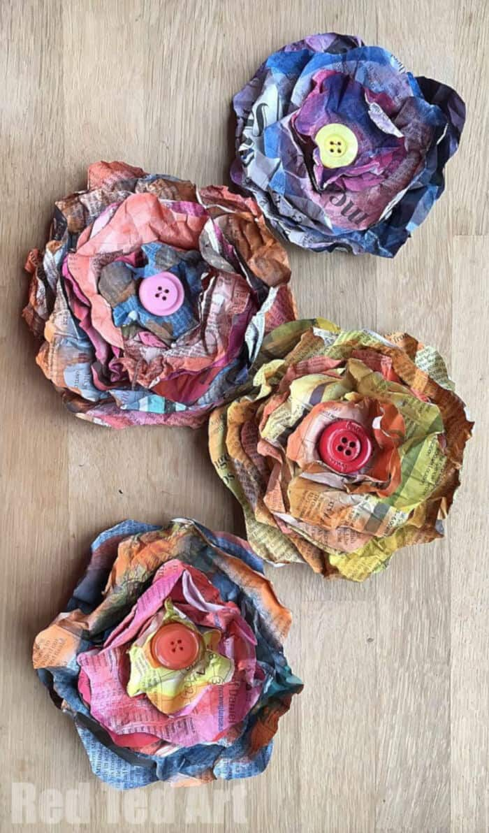 Easy Newspaper Flowers DIY by Red Ted Art