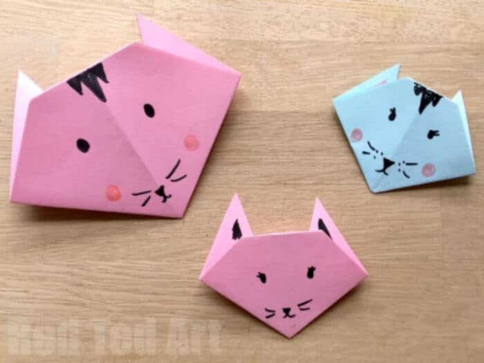Easy Origami Cats by Red Ted Art