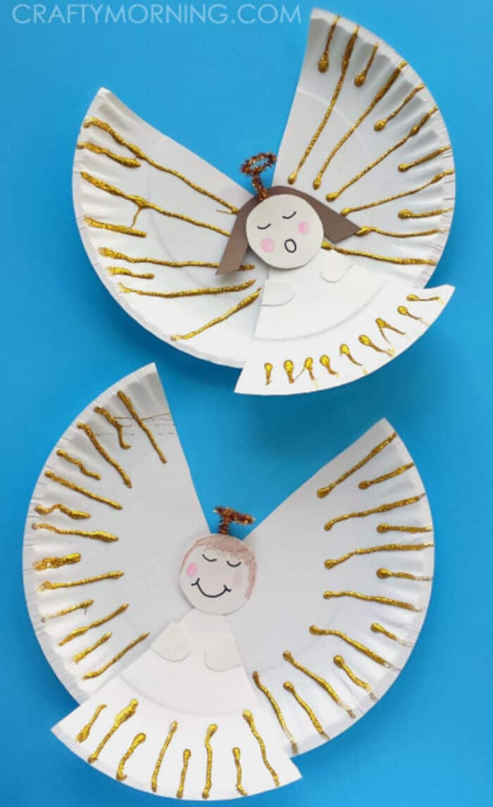 Easy Paper Plate Angel Craft for Kids by Crafty Morning