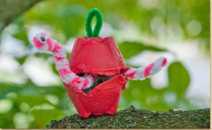 Egg Carton Apple Worm by Craft Project Ideas