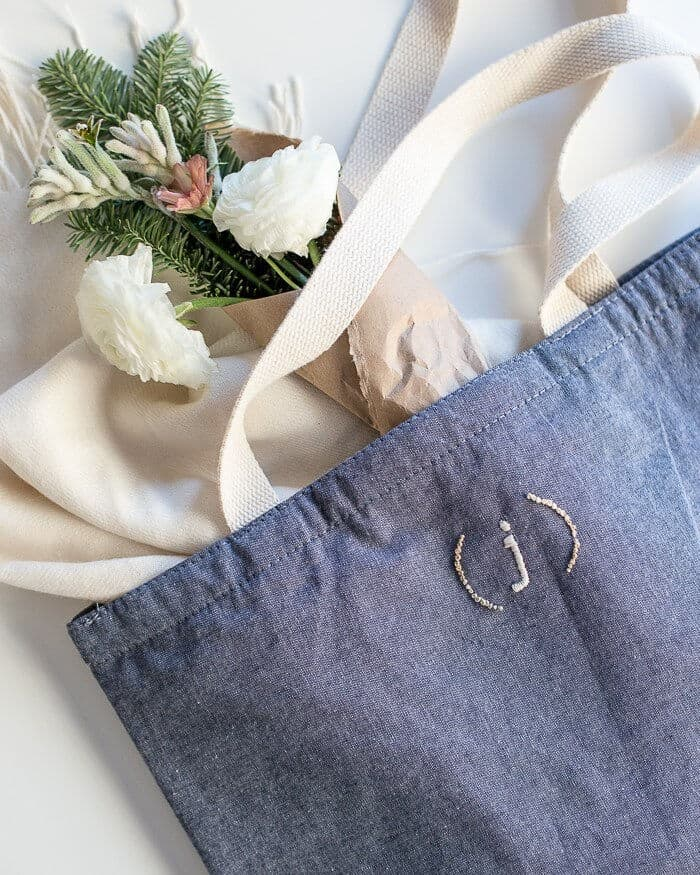 Embroidered Monogram Tote Bag by Flax and Twine