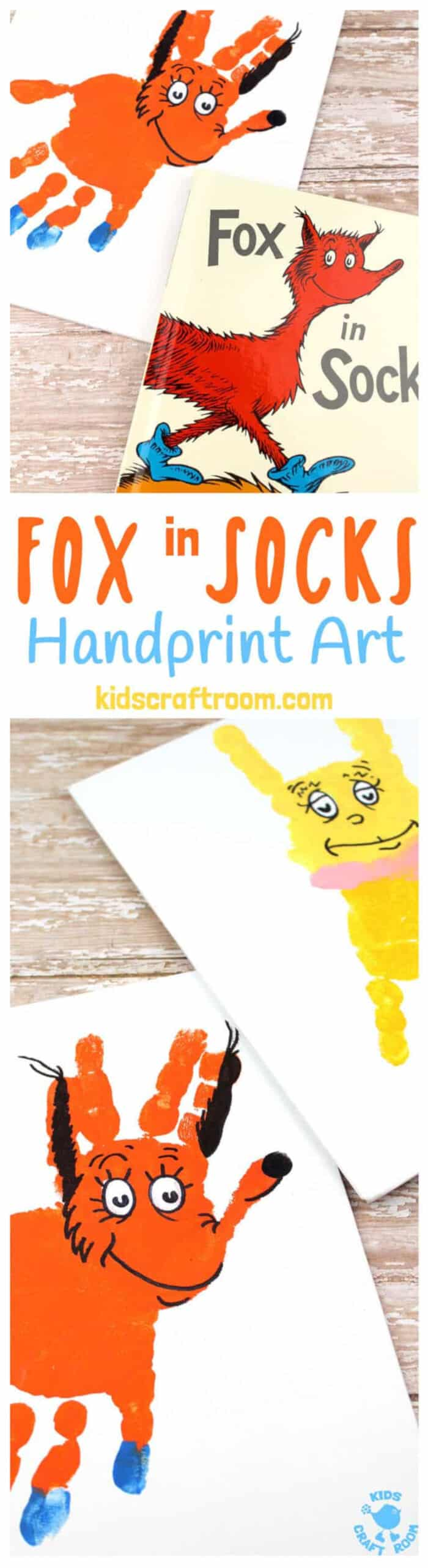 Fabulous Fox In Socks Handprint Craft by Kids Craft Room