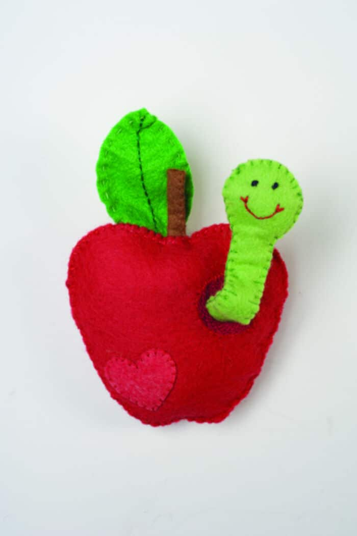 Felt Apple Worm Sewing Pattern by Craftfoxes