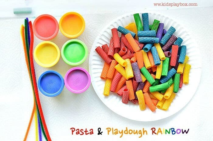Fine Motor Activities with Rainbow Pasta and Playdough by Fun Littles