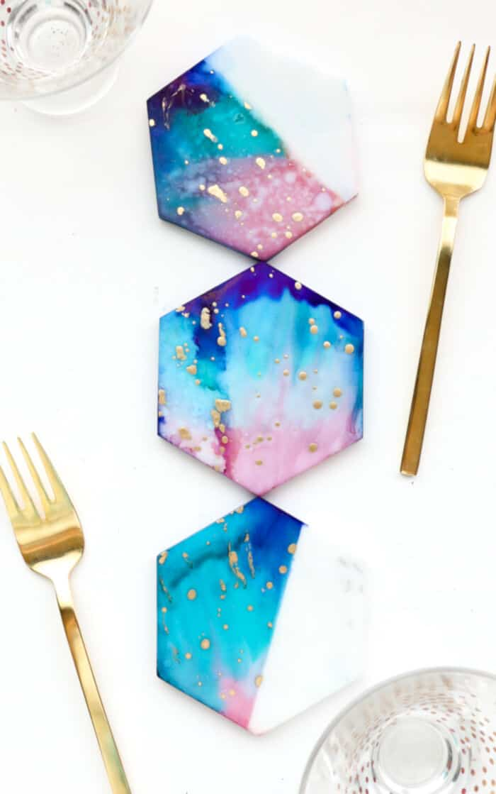 Galaxy Color Blocked Marble Coasters by A Kailo Chic Life