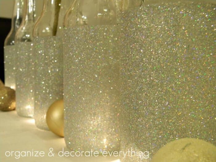 Glittered Bottles by Organize and Decorate Everything