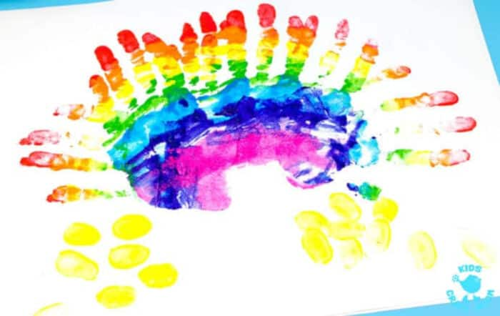 Gorgeous Handprint Rainbow Painting by Kids Craft Room